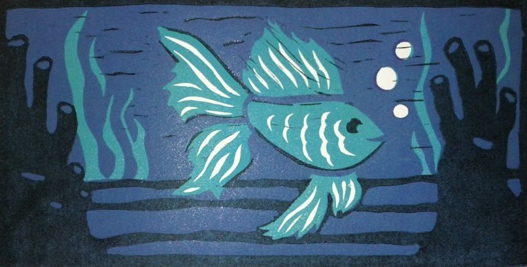 """Betta Fish,"" linocut, 2012"