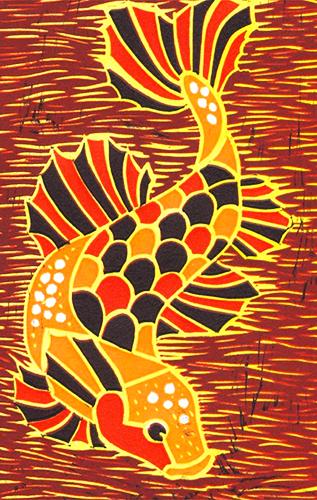 """Koi Fish,"" linocut, 2012"
